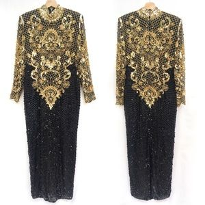 Vintage Heavily Beaded Sequin Cocktail Gown Dress